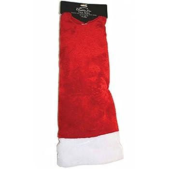 DYNO SEASONAL SOLUTIONS 48 Inch Red with White Trim Plush Tree Skirt