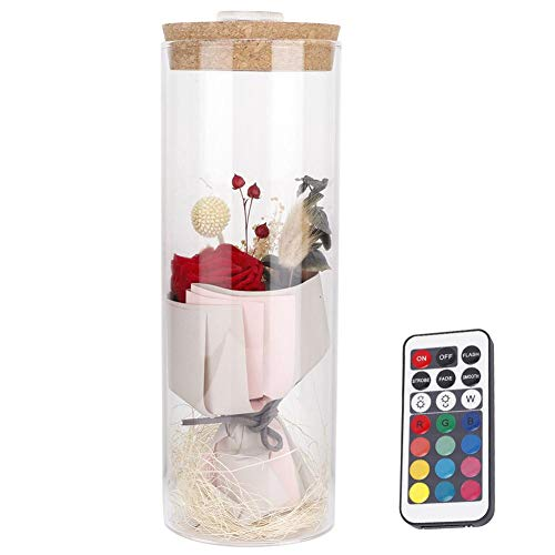 Jeffergarden Preserved Roses with Prince Glass Cover of LED Light for Valentines' Day Wedding (Red)