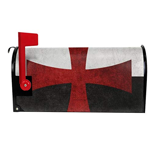 DLZXHomer Mailbox Cover Templar Cross Letter Post Box Cover Wrap Magnetic Mailbox Wraps Standard Size Decoration Welcome Home Garden Outdoor (21 X 18 in, 25.5 X 21 in) W X L