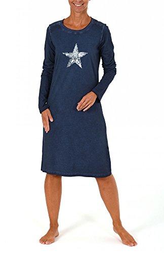 Damen Nachthemd Sleepshirt mit Sternen-Motiv - auch in Übergrössen - 261 213 90 145, Größe:40/42;Farbe:marine