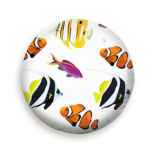 (Tire Cover Tropical Reef Fish Colorful Animals Wildlife Sea Nature Polyester Universal Spare Wheel Tire Cover Wheel Covers Jeep Trailer Rv Suv Truck Camper Travel Trailer Accessories)