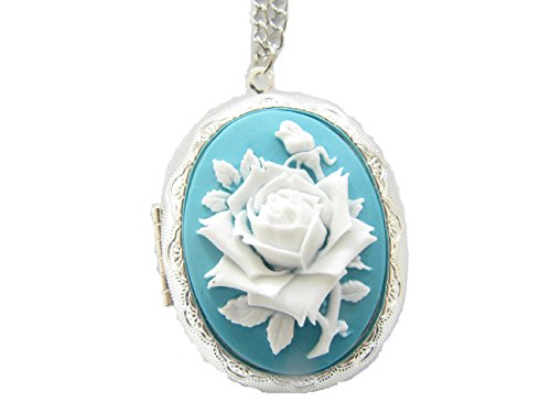 Large Rose Cameo Locket Necklace,vintage Inspired Long Chain Antique Silver Oval Rose Locket ()