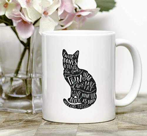 Cat Silhouette Thackery Binx Spirit Animal Hocus Pocus Spell Halloween Movie Quote Black Colored Handle and Rim 11oz Ceramic Coffee Mug