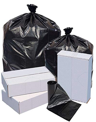 Highmark Repro Trash Liners, 1.5 mil, 60 Gallons, 70% Recycled, Black, Box of 100 Liners