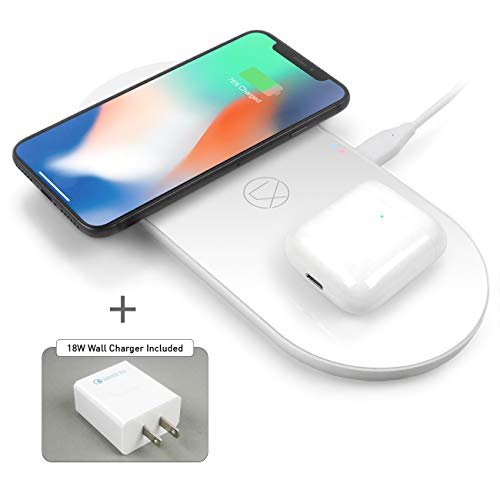 LXORY Dual Wireless Charging Pad - Double Qi Fast Charger for Two Phones (9W/Pad) - AirPods Wireless Charger Compatible with iPhone X/8, S10/S9 + All Qi Ready Phones - Charging Mat 18W Adapter Incl.