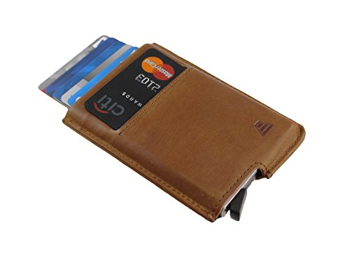 Andar Slim RFID Minimalist Card Case Full Grain Leather Wrapped - The Pilot (Saddle Brown) by Andar