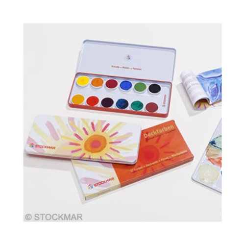 stockmar-opaque-colour-box-set-12-colours-pan-paints-opaque-white-paint-tube-brush-and-palette