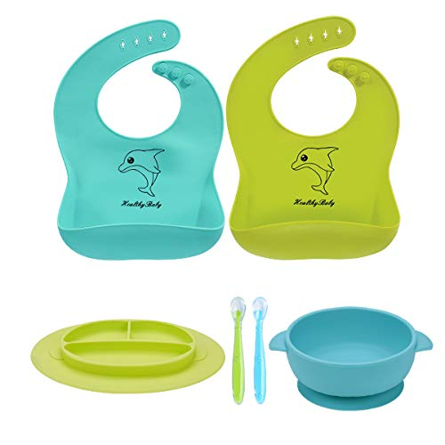 - 6 Pack Baby Bowl Plate Bibs Spoons Set, Strong Suction Best Toddler Self Feeding & Waterproof Bibs, 100% FDA Approved BPA Free Soft Silicone, Easy to Clean
