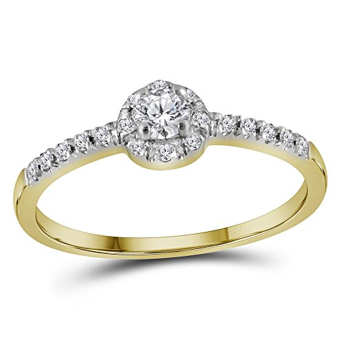- Size 7-10K Yellow Two Tone Gold Round Diamond Halo Circle Engagement Ring - Prong Set Solitaire Center Setting Shape (1/4 cttw.)