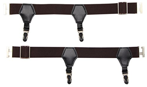 JAIFEI Premium Sock Garters - 2-Pack Double Sturdy Clip Sock Suspenders For Silk Socks (Coffee) by JAIFEI (Image #1)