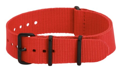 22mm Premium Nato PVD Nylon Solid Red Interchangeable Replacement Watch Strap Band