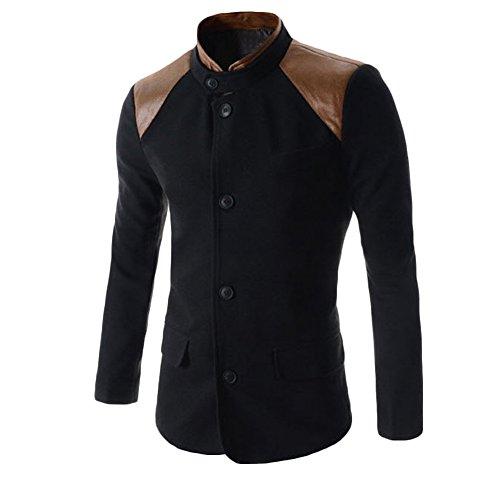 Verypoppa Men's Casual Stand Collar PU Splicing Slim Suit Blazer (Blazer Jacket Overcoat)