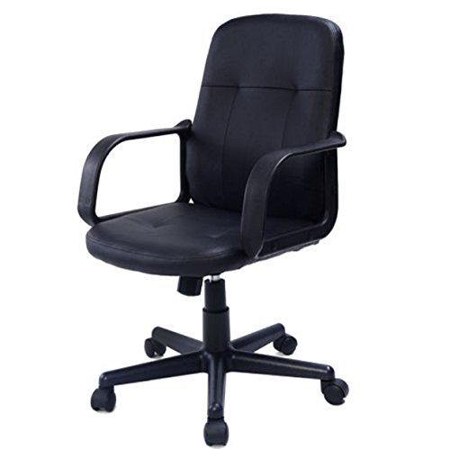 Big Dolly Chair (Chair Office Task Desk Support Wheels Seat Cushion PU Leather Ergonomic Midback Executive Computer)