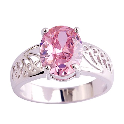 Veunora 925 Sterling Silver Oval Cut Pink Topaz Filled Promise Ring for Women