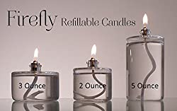 Firefly Refillable 2-ounce, 3-ounce and 5-ounce Glass Liquid Candles - Votive Size Emergency Candles - Replacement for Liquid Paraffin Disposable Fuel Cells