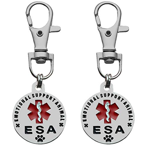 sticro 2 Pack Emotional Support Animal ESA Tag Double Sided Small Breed | Red Medical Alert Symbol | 1
