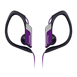 Panasonic Sports Clip Earbud Headphones RP-HS34-V (Purple) Water Resistant, Tough, Durable, Adjustable Ear Clip, Ultra Light, Best for iPhone