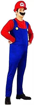 thematys® Super Mario Luigi Gorra + pantalón + Barba - Traje Conjunto para Adultos Carnaval y Cosplay (M, Talla 165-175cm)