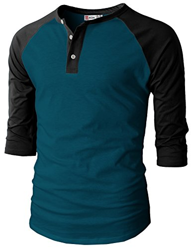 Fit Raglan Baseball Three-Quarter Sleeve Henley Premium T-Shirts Peacock US M/Asia L (CMTTS0174) ()