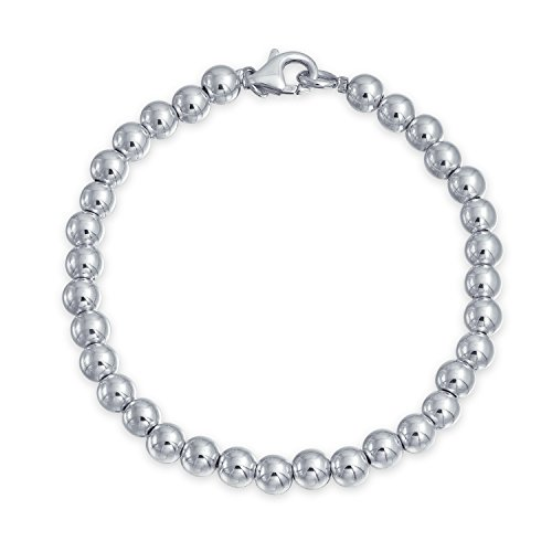 (Classic Round Ball Bead Strand Bracelet For Women Polished 925 Sterling Silver 6MM)