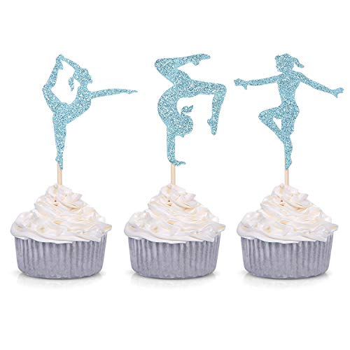 (24 Blue Glitter Gymnastics Cupcake Toppers Gymnast Girl Birthday Party Gym Theme Decorations)