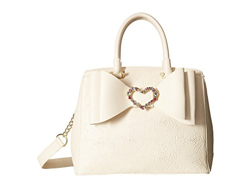 Betsey Johnson Womens Belted Bow Satchel Cream One Size Bow Satchel