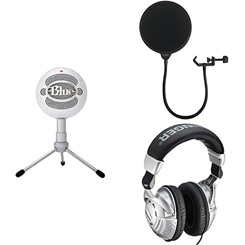 (Blue Snowball iCE Condenser Microphone, Cardioid - White with Dragonpad Pop Filter and Behringer Studio Headphones)