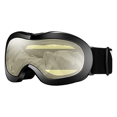 VELAZZIO Kids Ski Goggles, Snowboard Goggles OTG Snow Goggles Anti-Fog Double-Layer Lenses, 100% UV Protection (Black Frame/Yellow Lens with Light Silver Coating (VLT 59%)) ()
