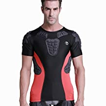 TUOY Men's Boys Padded Compression Shirt Rib Chest Protector for Football Paintbal hocky sking and other related sports