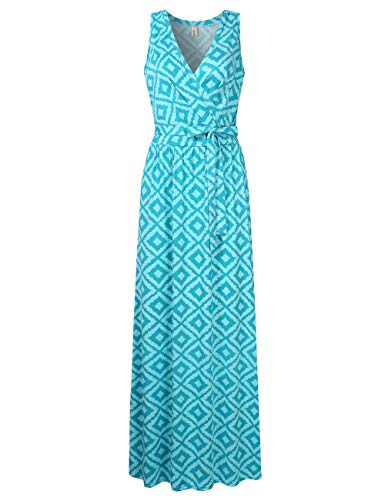 Leadingstar Women's Sleeveless Floral Beach Casual Daily Maxi Dress (Green, L)