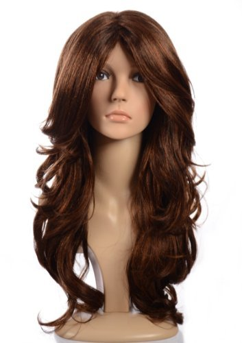 Long Brunette Wig (Brunette Kimberley Wig with Copper Highlights   Full Volume Long Curly Kardashian Celebrity Style Wig)