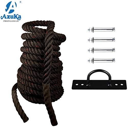 AZUKA® Battle Rope PP 1.5 in X 50 Ft (Black & RED),Weight-11kg + Wall Mount with Free Surprise Poster Inside Price & Reviews