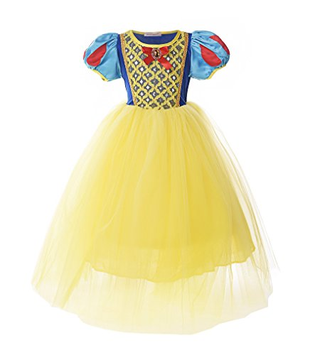 JerrisApparel Girl Classic Snow White Princess Costume Fancy Dress for Christmas (6, Yellow) ()