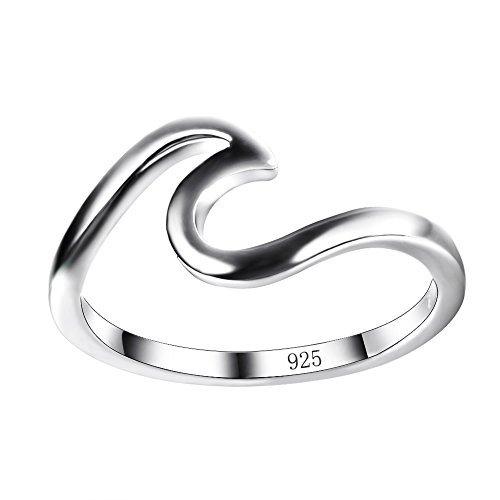 Chic 925 sterling Silver Wave Cut Girl Ring,Designed For Women To Design Home Casual Wear (Silver Sterling-Size 7)