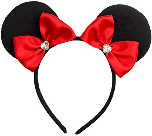 Minnie Mouse Ears Inspired Headband Red Snow White Ribbon Hair Bow Women Girls Mickey Birthday Party Theme Outfit by Sweet in the City -