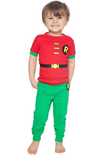 DC Comics Toddler 'Robin Logo' Cotton Costume Pajama Set, Multi, 4T]()