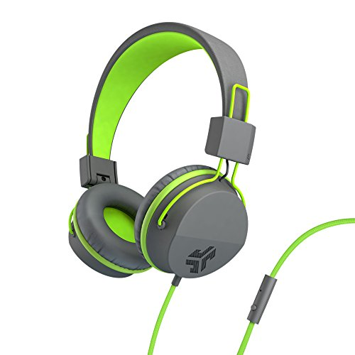 JLab Audio Neon Headphones On-Ear Feather Light, Ultra-plush Eco Leather, 40mm drivers, GUARANTEED FOR LIFE - Graphite/Lime