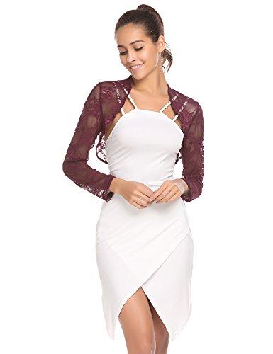SE MIU Women's Satin Bolero Party Jacket Long Sleeves Wraps Shrug Stole - Lace Long Sleeve Wrap