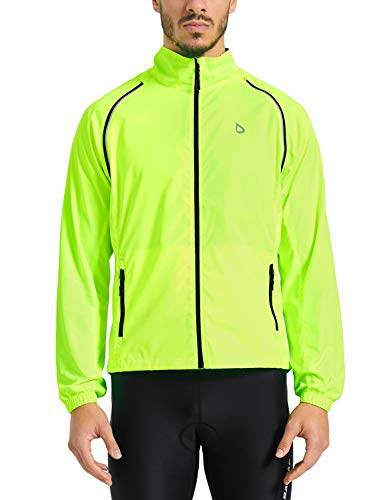 Baleaf Men's Cycling Jacket Vest Windproof Water-Resistant Coat Breathable Outdoor Sportswear Fluorescent Yellow Size L