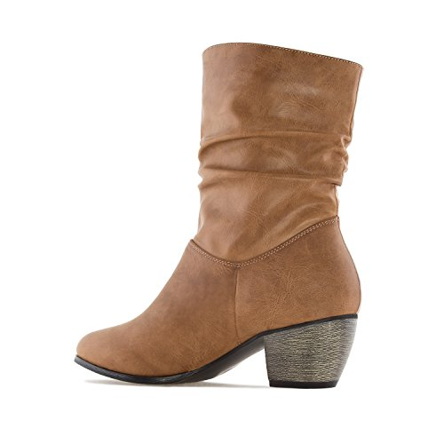 Andres Machado AM4082.Mid-Calf Buckle Boots In Faux Leather.Womens Petite&Large Szs:US 2 To 5 -US 11.5 To 13/EU 32 To 35 -EU 43 To 45 Camel Faux Leather COyZhSsKdn
