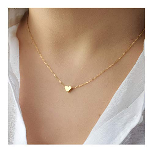 Gold Large Heart Necklace (Delicate Tiny Gold Heart Choker Necklace,Dainty Cute Simple Heart Pendant Necklaces for Girls and Womens)