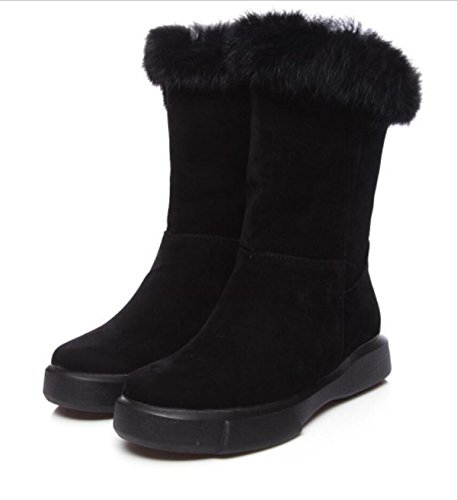 Bottes Taille Femmes Grande De épais Chaud Hiver Chaussures LINYI Rond Neige Black De EaPxBqxw1