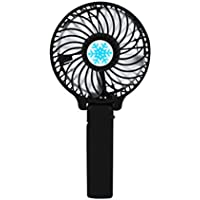 Handheld Fan Mini Portable Outdoor Electric Fan with Rechargeable Multipurpose Collapsible Portable Fan Desktop Fan 3 Speed (Black)