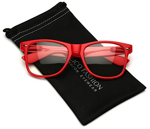 - Iconic Square Horn Rimmed Clear Lens Retro Glasses (Red, 52)