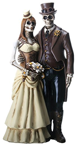 Halloween Fairy Cake Toppers (YTC 8 Inch Steampunk Skeleton Wedding Couple Statue Figurine,)