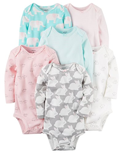 Carter's Baby Girls' 6-Pack Long-Sleeve Original Bodysuits (9 Months, Animal Assorted)