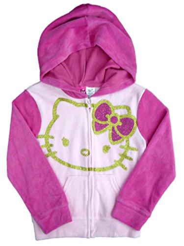 Hello Kitty Girls Pink Velour Hoodie Sweatshirt Jacket S (6-6X) ()