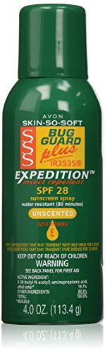 Avon Skin So Soft Plus IR3535 Expedition Unscented Bug Spray SPF 28 Green Can Sports Camping