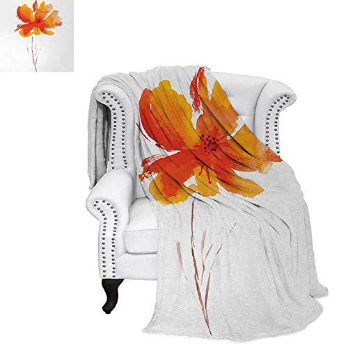 Custom Design Cozy Flannel Blanket Single Poppy Flower on Plain Clear Background Nature Inspired Romantic Lightweight Blanket 62