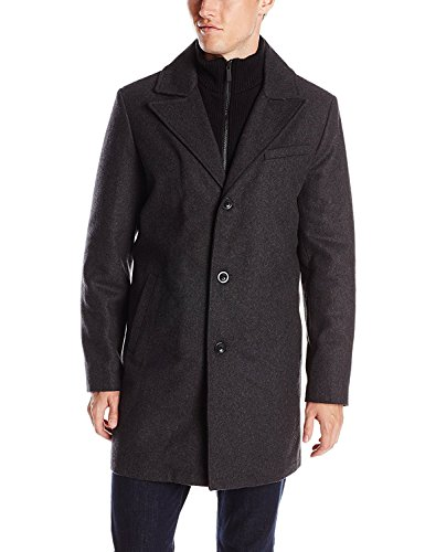Kenneth Cole New York Men's Classic Mid Length Wool Coat with Knit Bib (XL, Charcoal)
